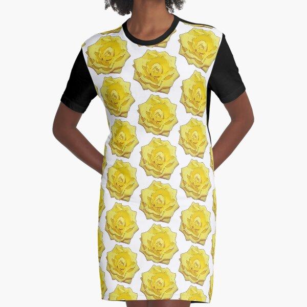Gelbe Rose Blumen Illustration Blumenmotiv T-Shirt Kleid