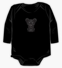 Cute Baby Black Panther Cub on Blue One Piece - Long Sleeve