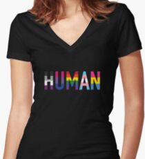 Human, LGBT+ Women's Fitted V-Neck T-Shirt