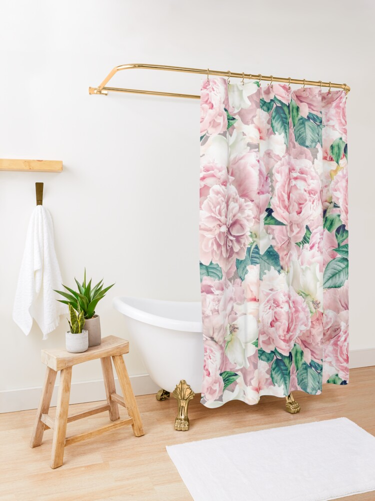 Alternate view of Vintage Blush Real Peonies Pattern Shower Curtain