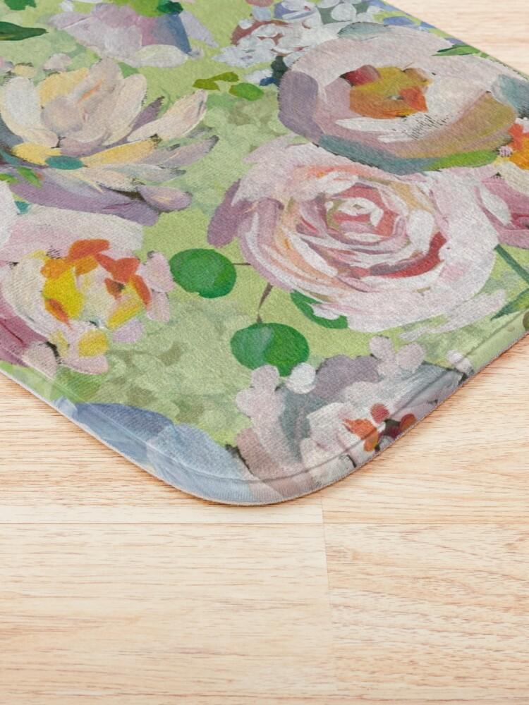 Alternate view of Van Gogh Roses Pattern Green Bath Mat