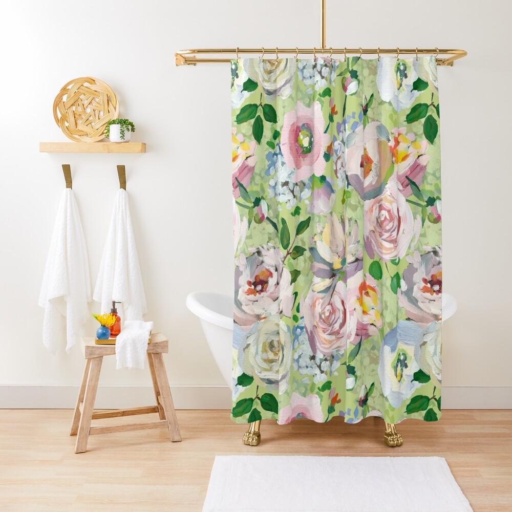 Van Gogh Roses Pattern Green Shower Curtain