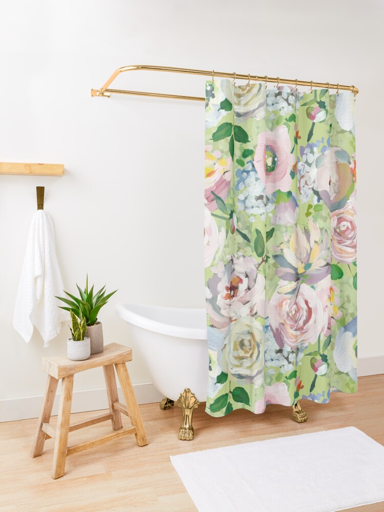 Alternate view of Van Gogh Roses Pattern Green Shower Curtain
