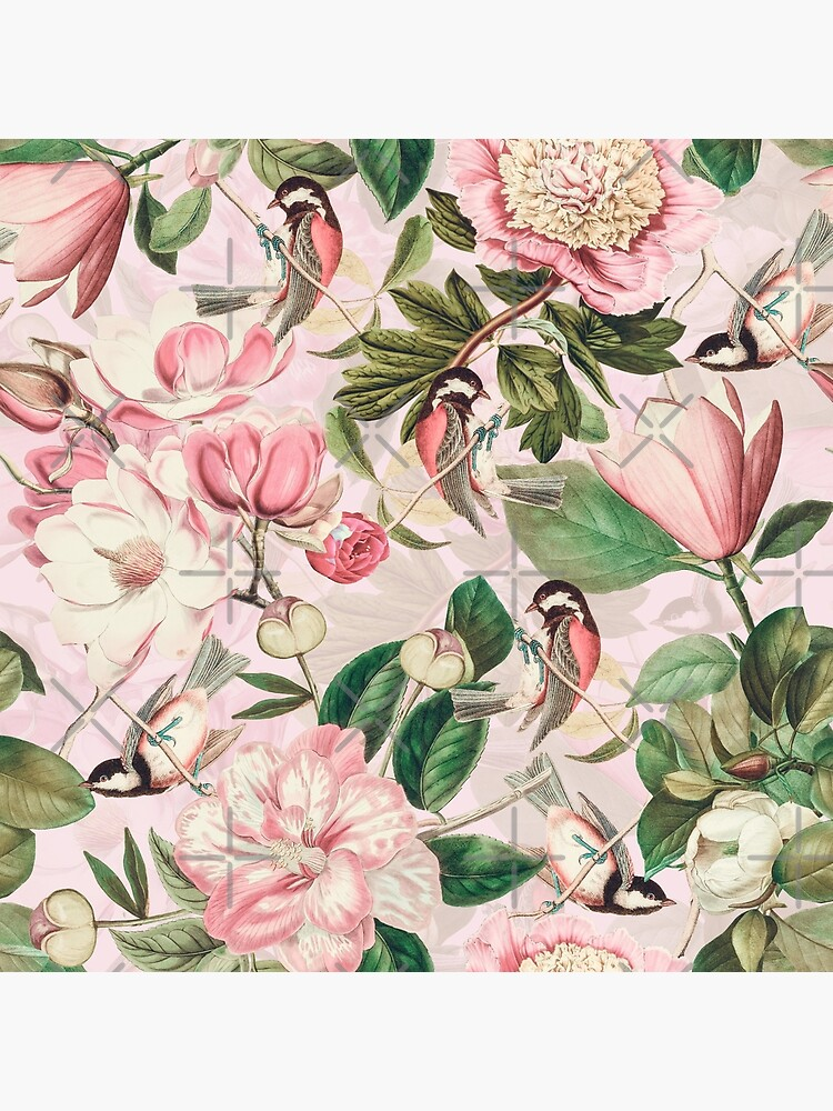 UtART - Vintage Peonies Spring Flower Pattern Pink Sepia by UtArt