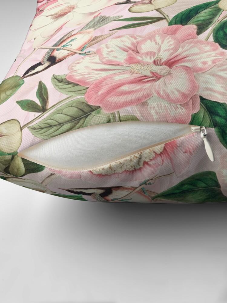 Alternate view of UtART - Vintage Peonies Spring Flower Pattern Pink Sepia Throw Pillow