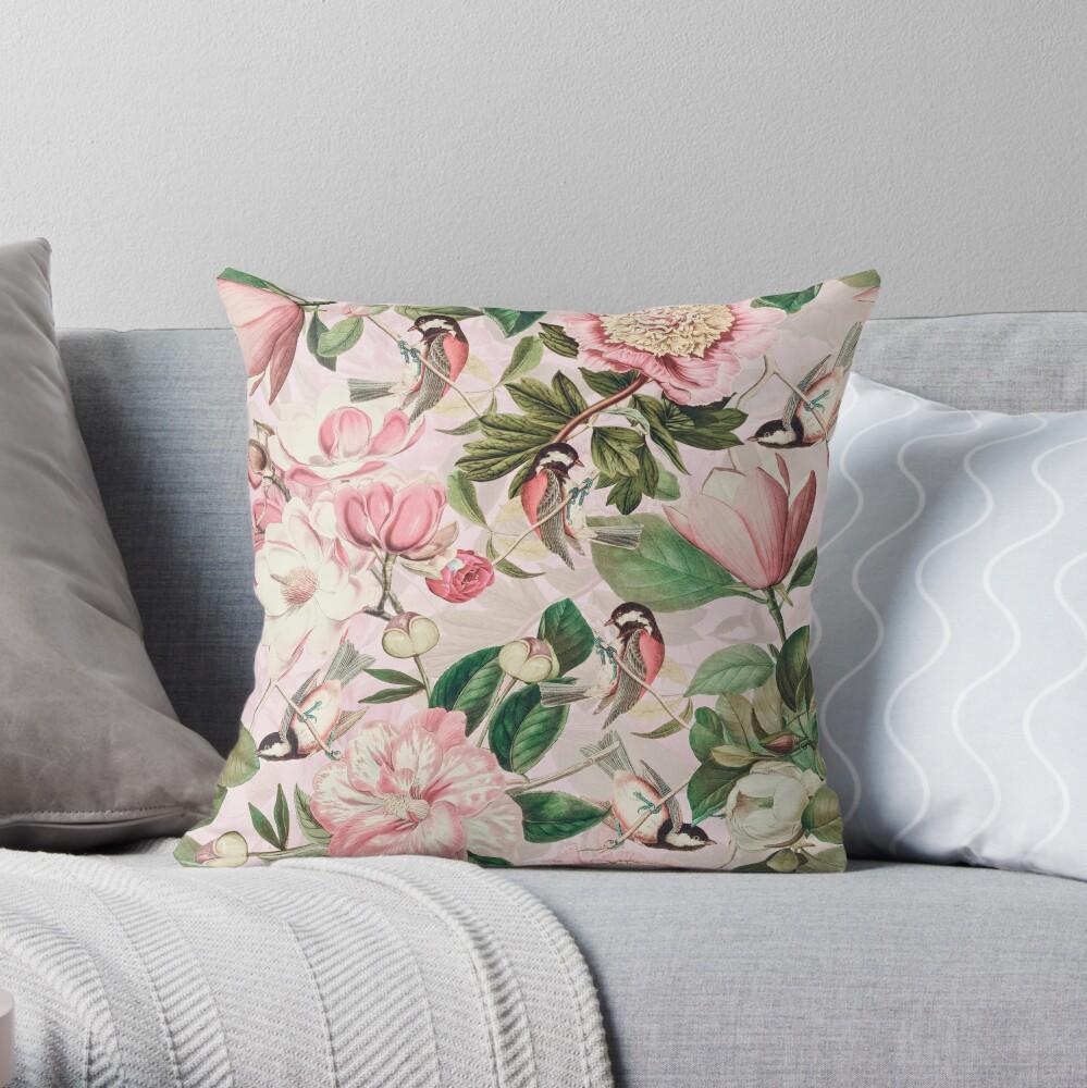 UtART - Vintage Peonies Spring Flower Pattern Pink Sepia Throw Pillow