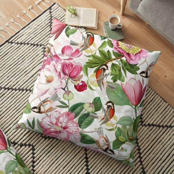 UtART - Vintage Peonies Spring Flower Pattern White Floor Pillow