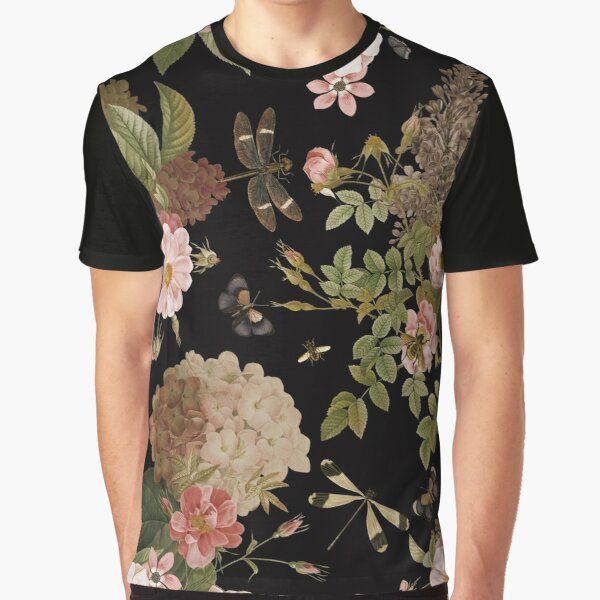 UtART - Vintage Roses Spring Flower And Early Insects Pattern - Sepia Black Graphic T-Shirt