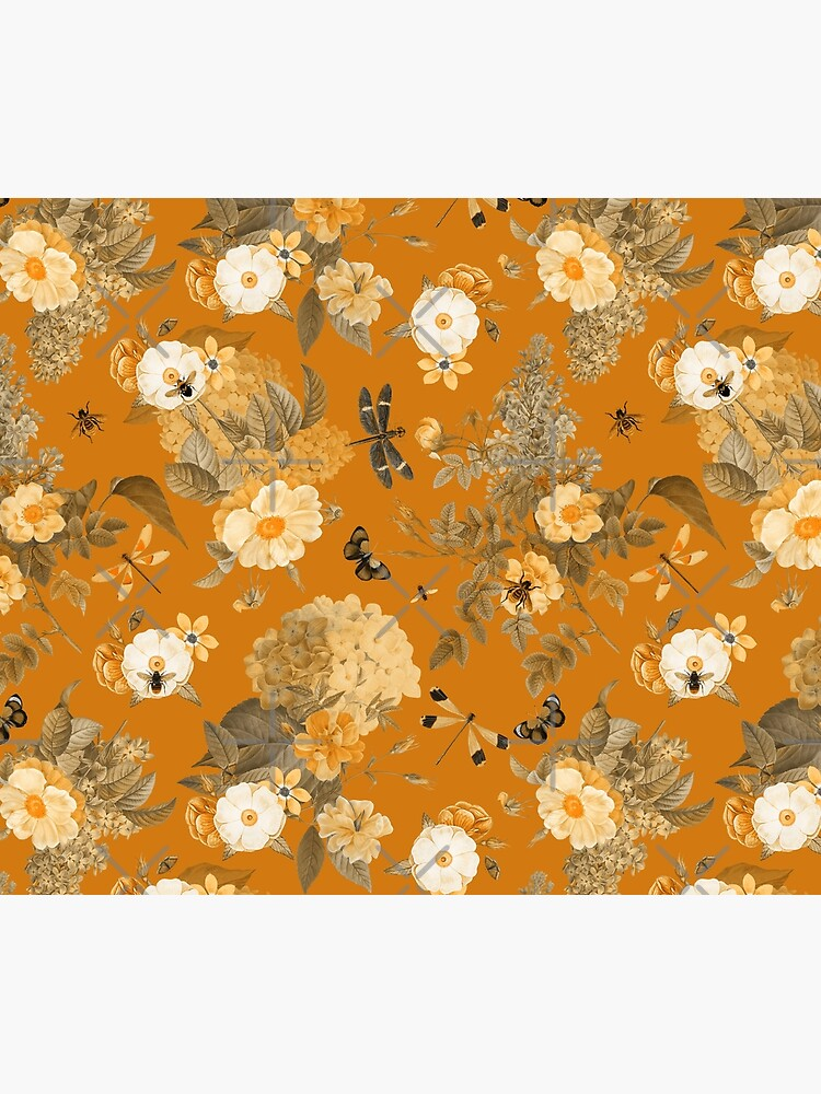 UtART - Vintage Roses Spring Flower And Early Insects Pattern - Sepia Gold by UtArt