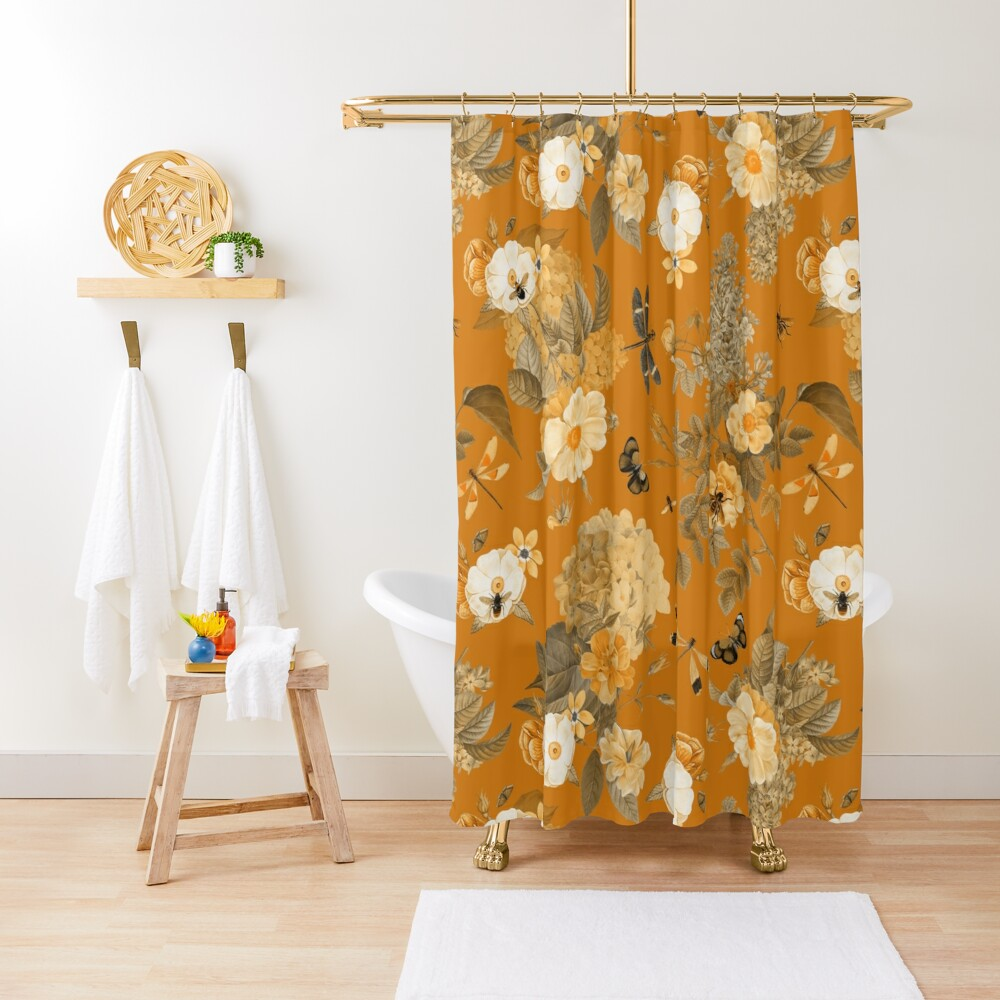 UtART - Vintage Roses Spring Flower And Early Insects Pattern - Sepia Gold Shower Curtain