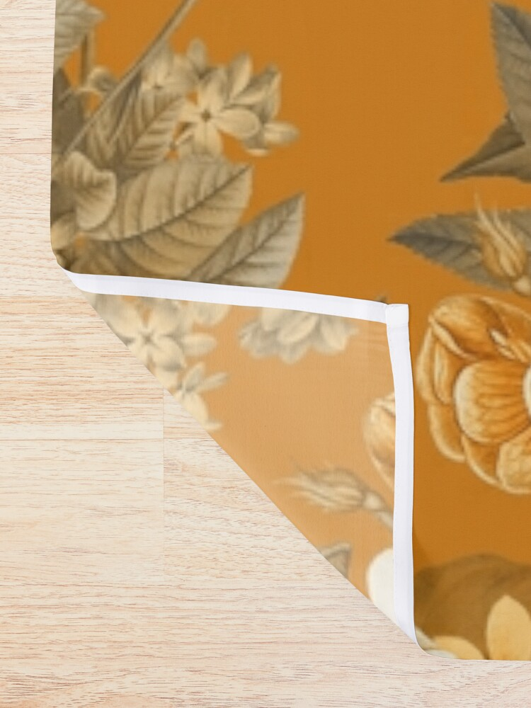 Alternate view of UtART - Vintage Roses Spring Flower And Early Insects Pattern - Sepia Gold Shower Curtain
