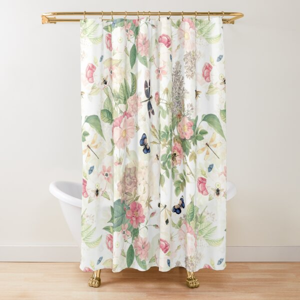 UtART - Vintage Roses Spring Flower And Early Insects Pattern - Sepia Blush Cream white Shower Curtain