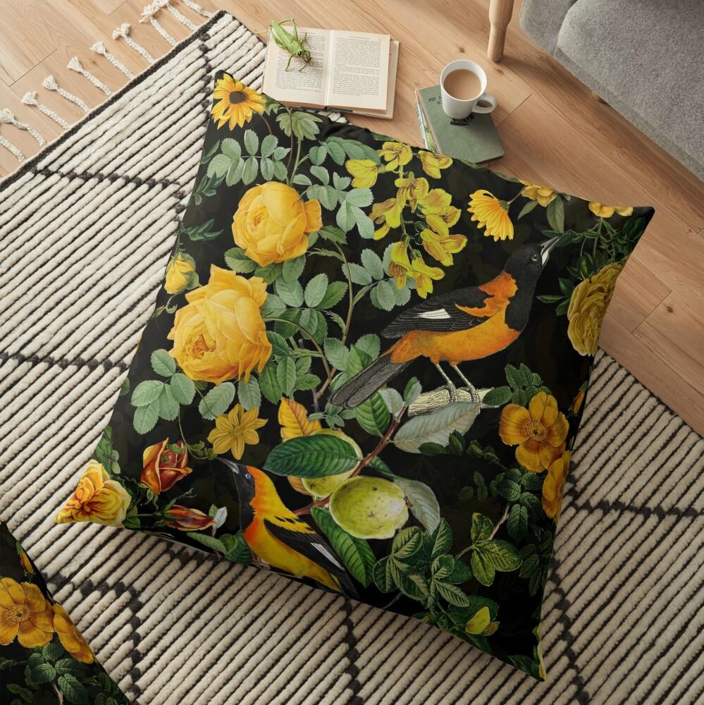 Antique Midnight Botanical Flower Rose Garden Floor Pillow