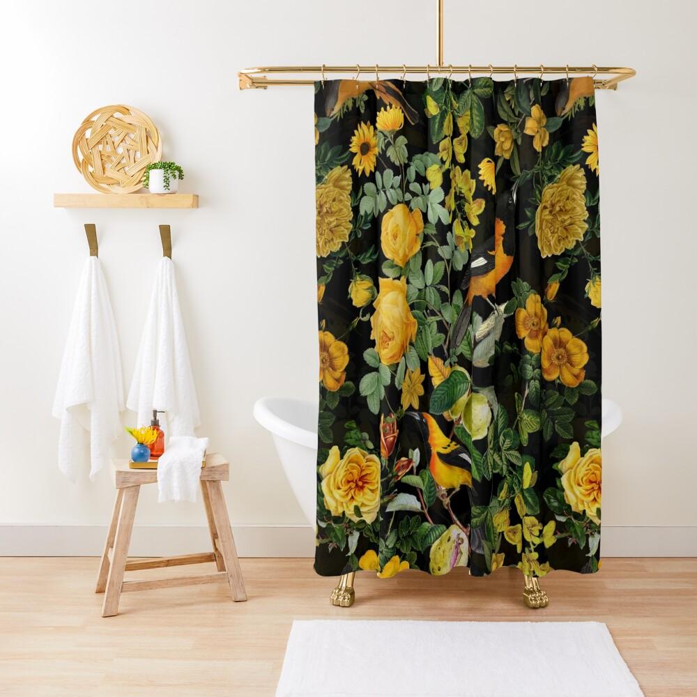 Antique Midnight Botanical Flower Rose Garden Shower Curtain