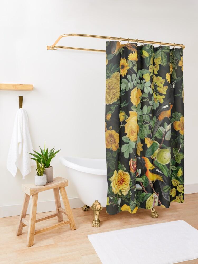 Alternate view of Antique Midnight Botanical Flower Rose Garden Shower Curtain