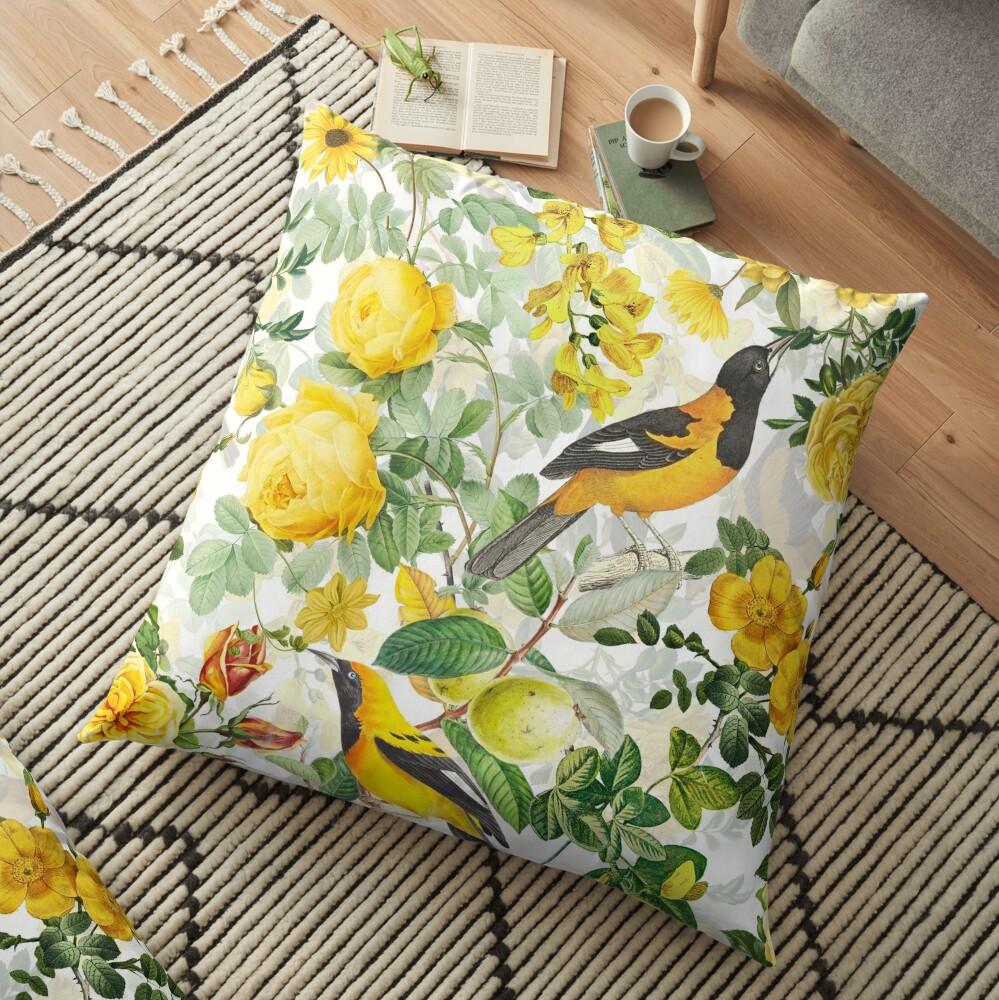 Antique Spring Botanical Flower Rose Garden Floor Pillow