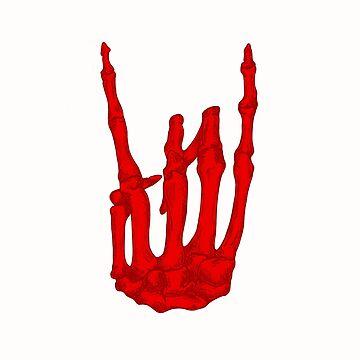 Red Rock On Skeleton Hand by BonesToAshes