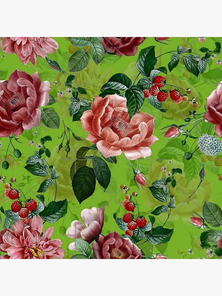 Spring Green Vintage Pattern With Roses And Raspberries by UtArt