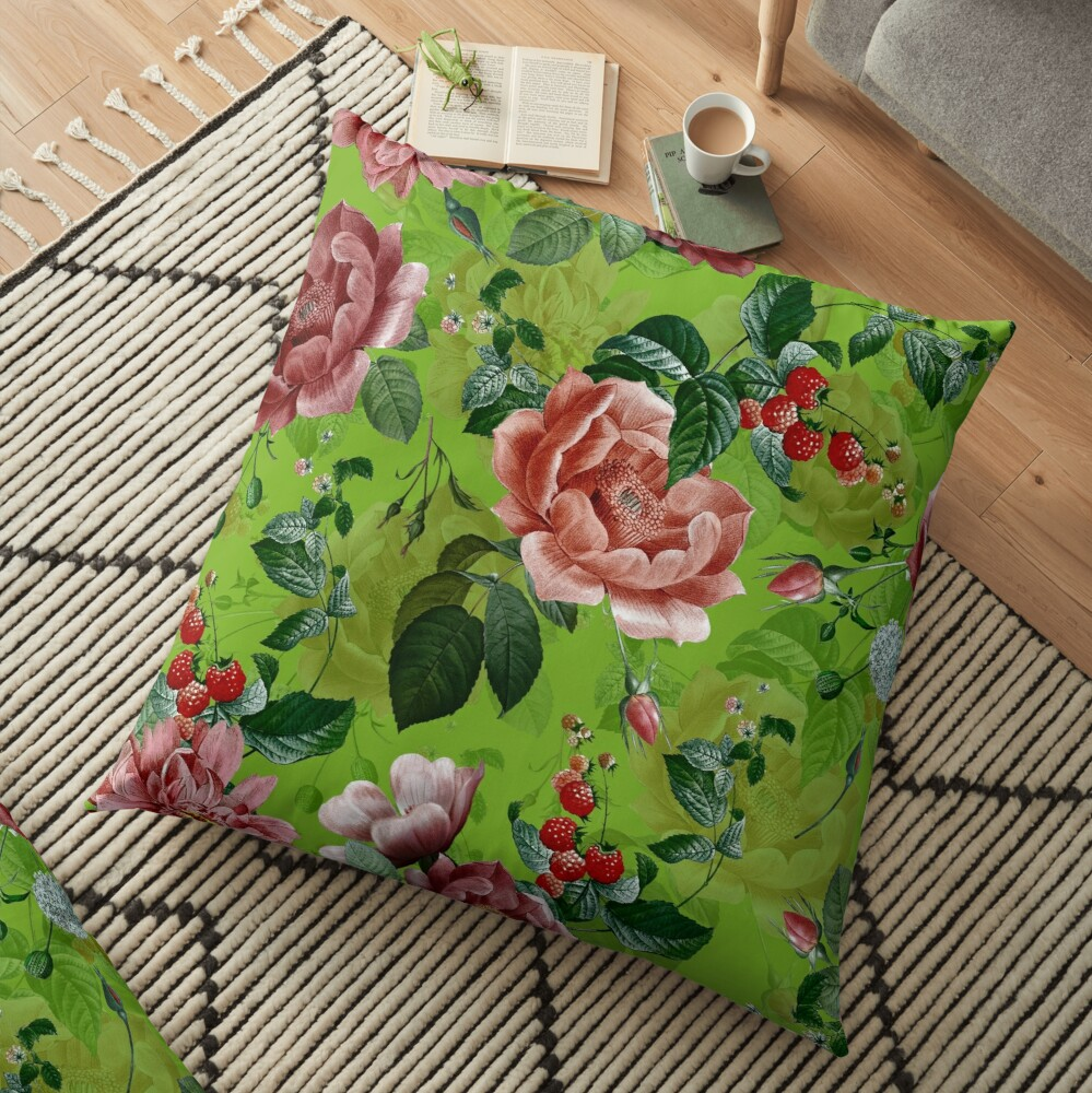 Spring Green Vintage Pattern With Roses And Raspberries Floor Pillow