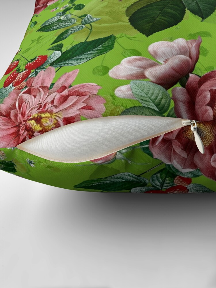 Alternate view of Spring Green Vintage Pattern With Roses And Raspberries Floor Pillow
