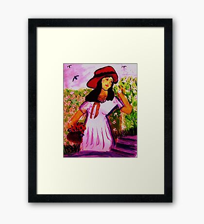 Girl in  the garden along wall, watercolor Framed Print