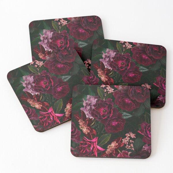 Antique Midnight Botanical Flower Rose Garden Coasters (Set of 4)