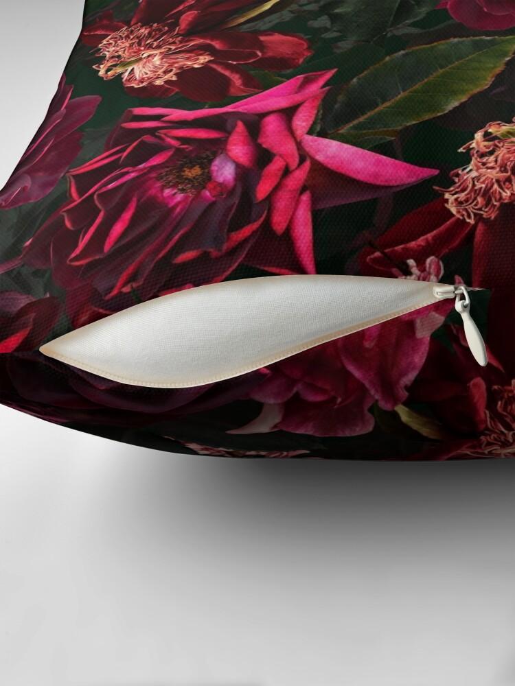 Alternate view of Antique Midnight Botanical Flower Rose Garden Floor Pillow