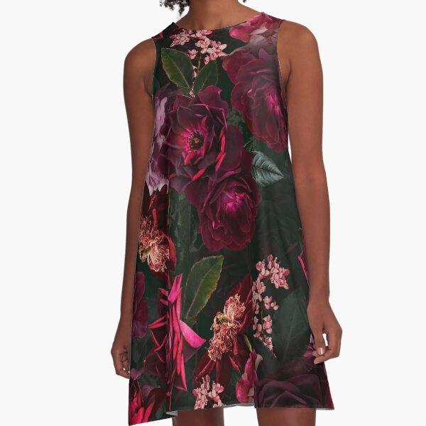 Antique Midnight Botanical Flower Rose Garden A-Line Dress