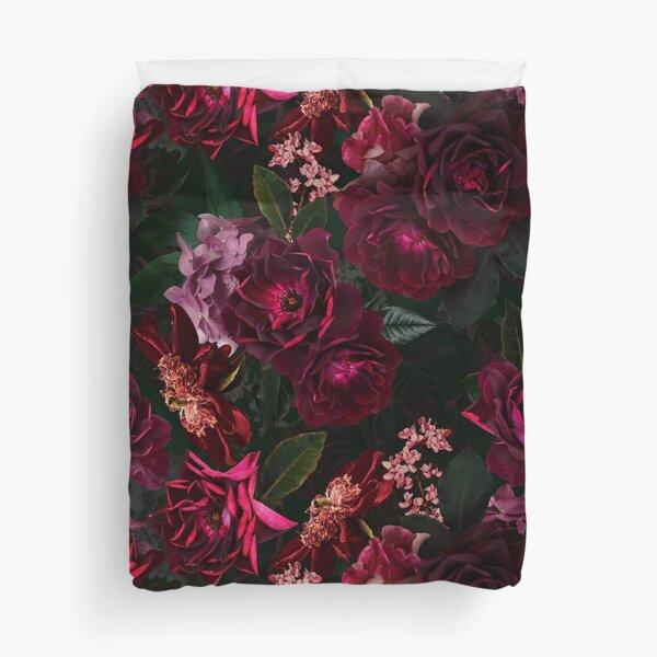 Antique Midnight Botanical Flower Rose Garden Duvet Cover