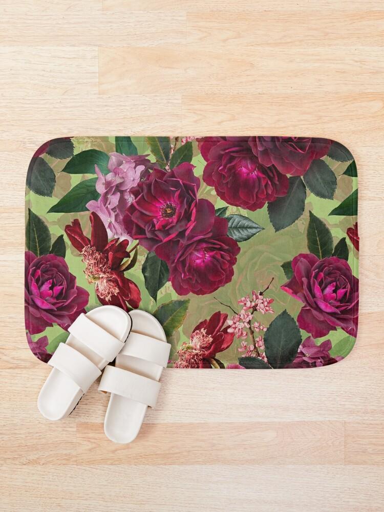 Alternate view of Antique Green Botanical Flower Rose Garden Bath Mat