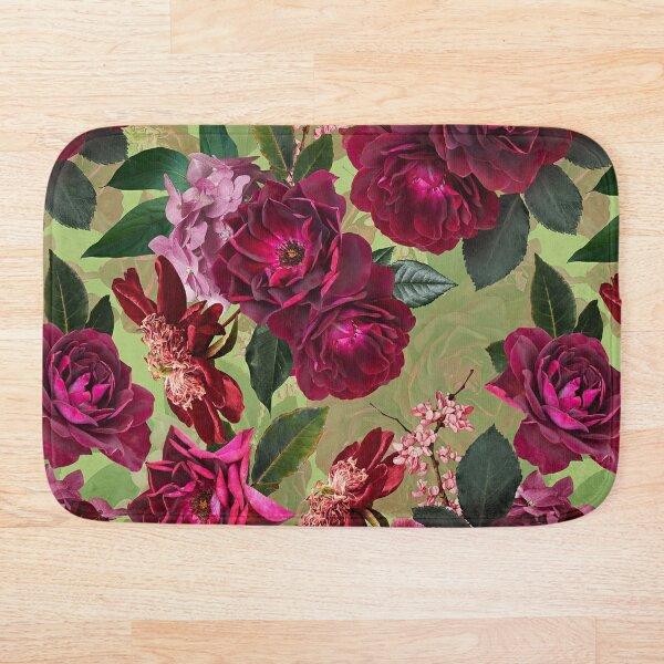 Antique Green Botanical Flower Rose Garden Bath Mat