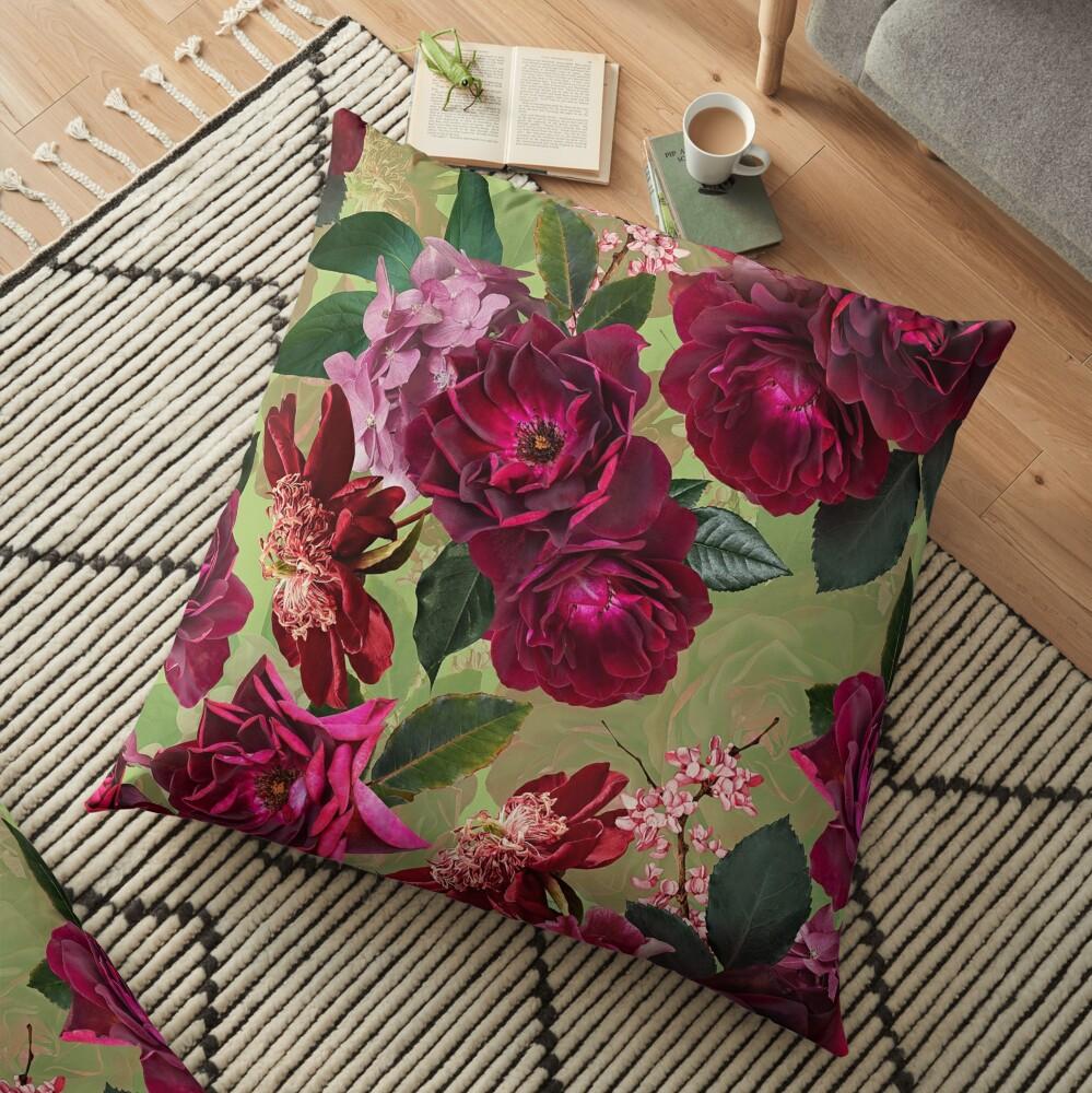 Antique Green Botanical Flower Rose Garden Floor Pillow