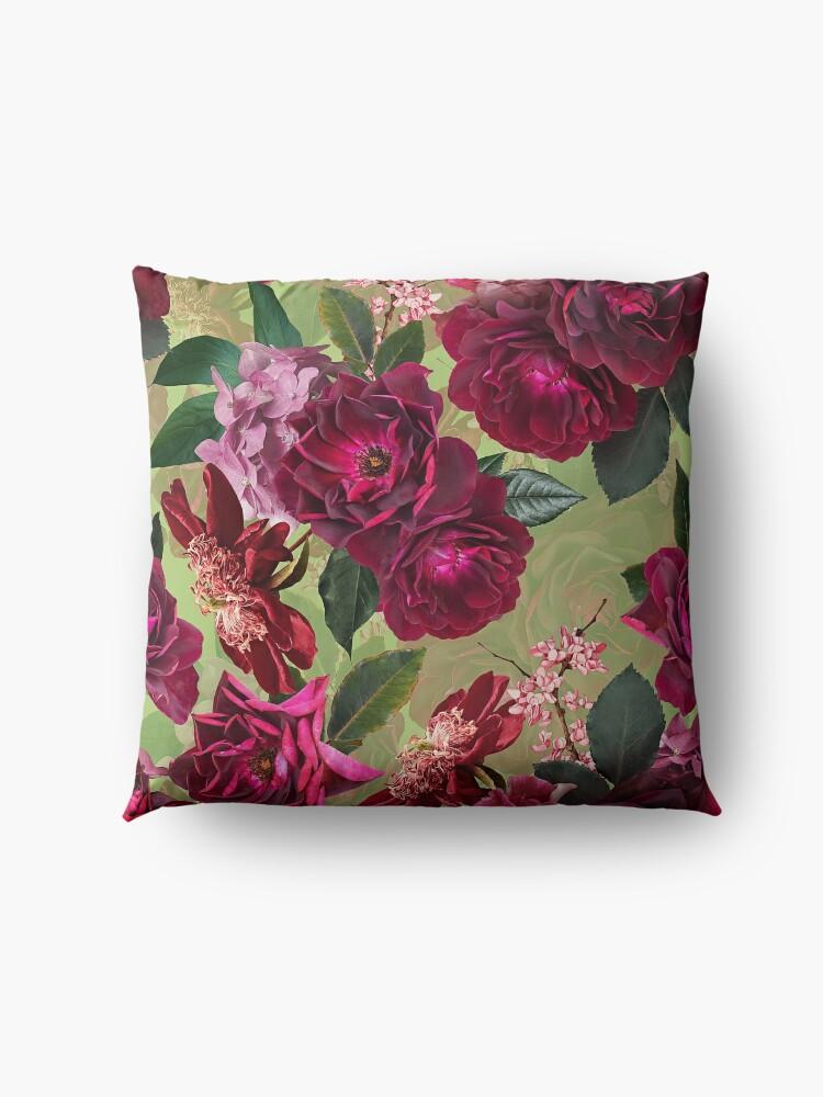Alternate view of Antique Green Botanical Flower Rose Garden Floor Pillow