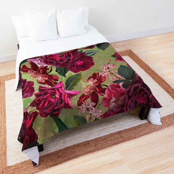 Antique Green Botanical Flower Rose Garden Comforter