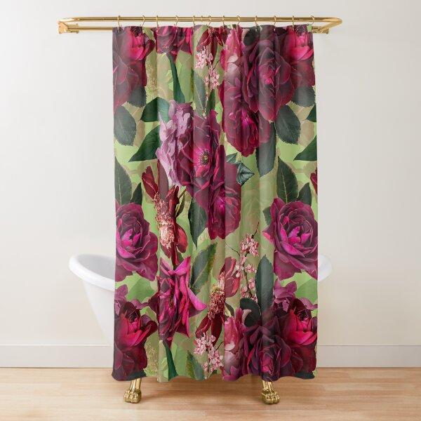 Antique Green Botanical Flower Rose Garden Shower Curtain