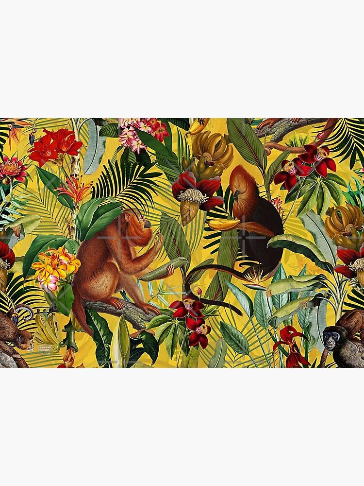Tropical monkey jungle pattern - yellow by UtArt