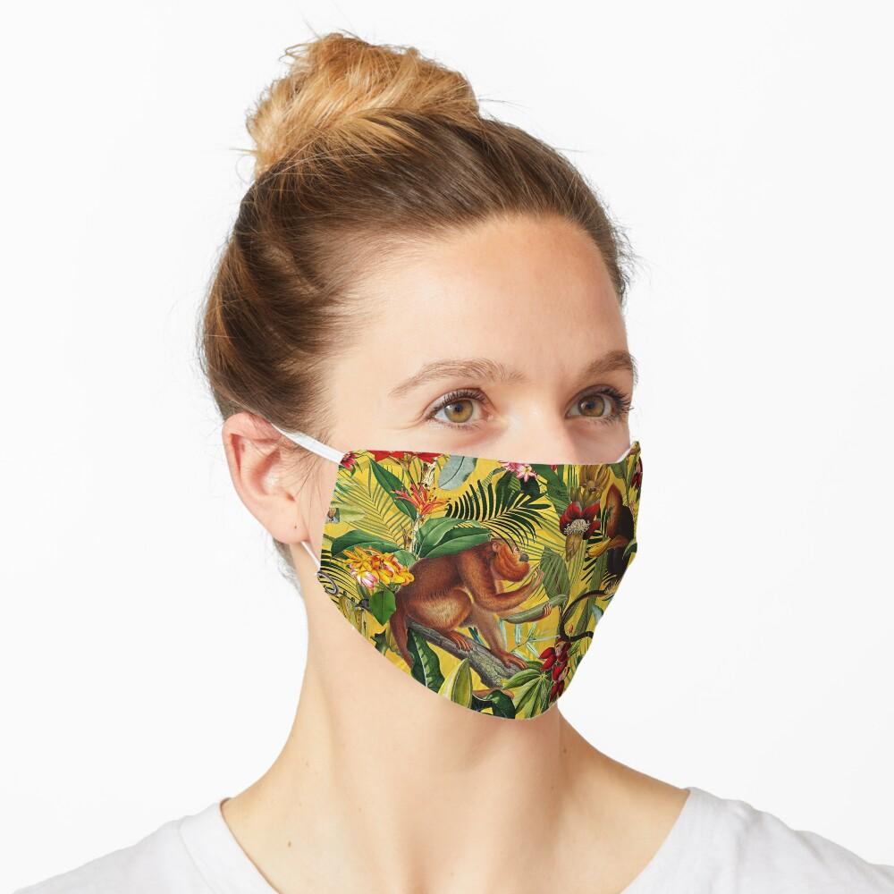 Tropical monkey jungle pattern - yellow Mask