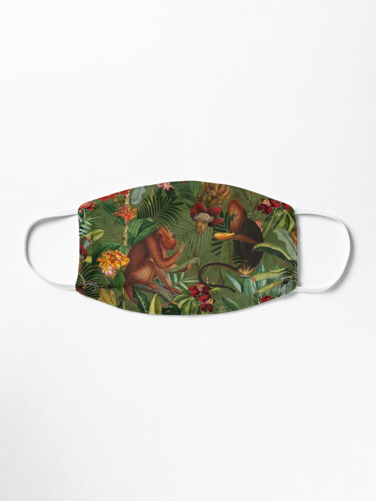 Alternate view of Tropical monkey jungle pattern - dark green Mask