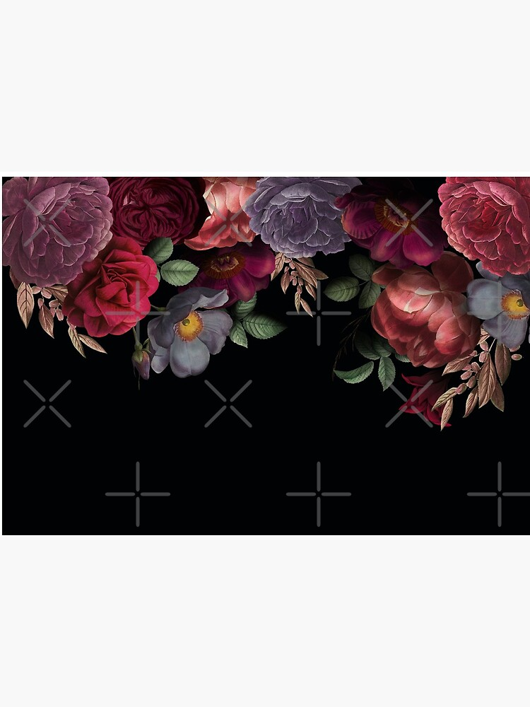 Antique Botanical Night Watercolor Roses on Black by UtArt