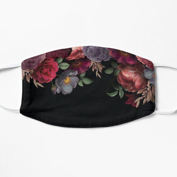 Antique Botanical Night Watercolor Roses on Black Flat Mask