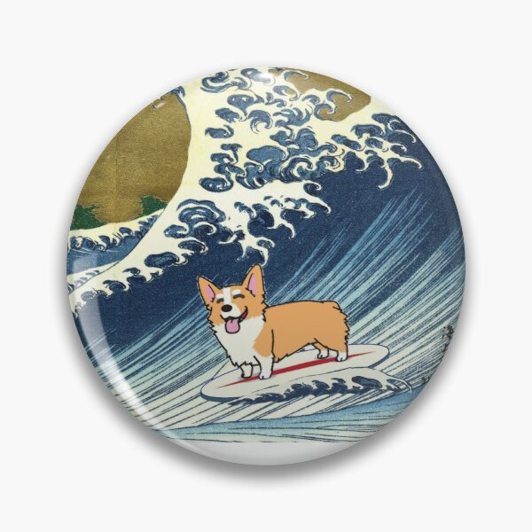 Corgi dog surfing The Great Wave  Pin