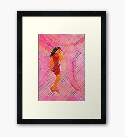 Oh she shines with her lovely voice., watercolor Framed Print