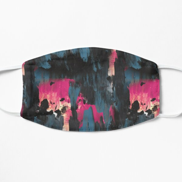 New dawn pink - fluid painting pouring image in teal, black and pink Mask