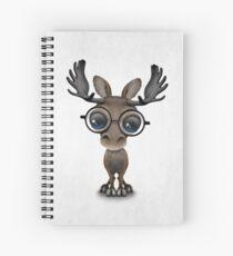 Cuaderno de espiral Lindo curioso bebé alces nerd con gafas