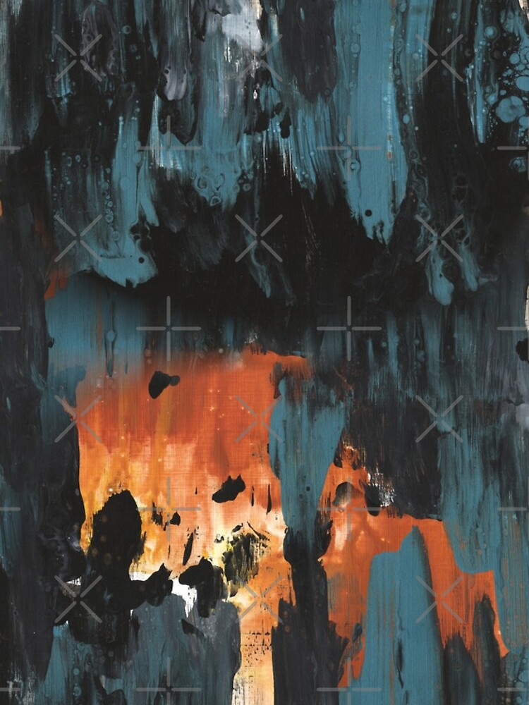 New dawn rusty orange - fluid painting pouring image in teal, black and orange by nobelbunt