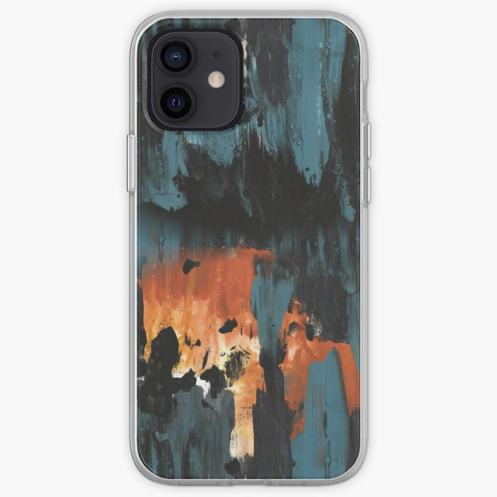 New dawn rusty orange - fluid painting pouring image in teal, black and orange iPhone Case & Cover