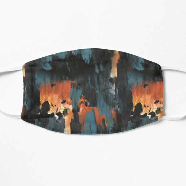 New dawn rusty orange - fluid painting pouring image in teal, black and orange Mask