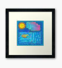 Vaporwave-Ocean Blues Framed Print