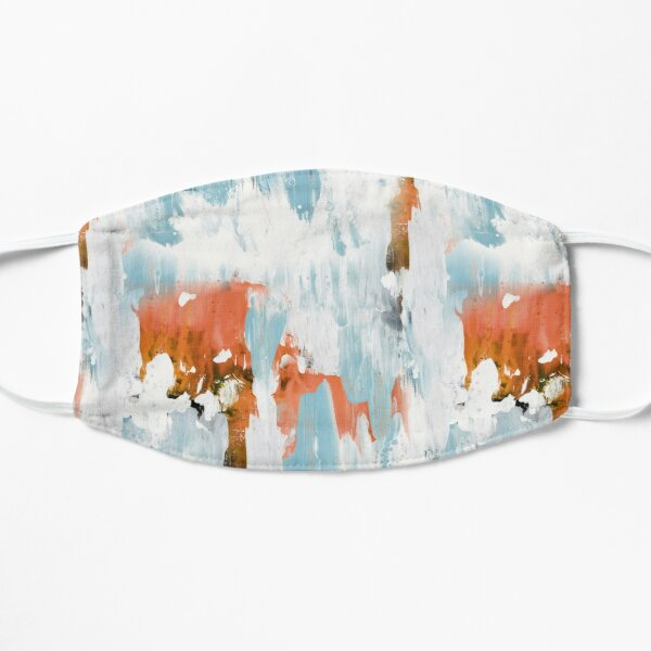 New dawn white & bright - fluid painting pouring image in white, orange and sky blue Mask