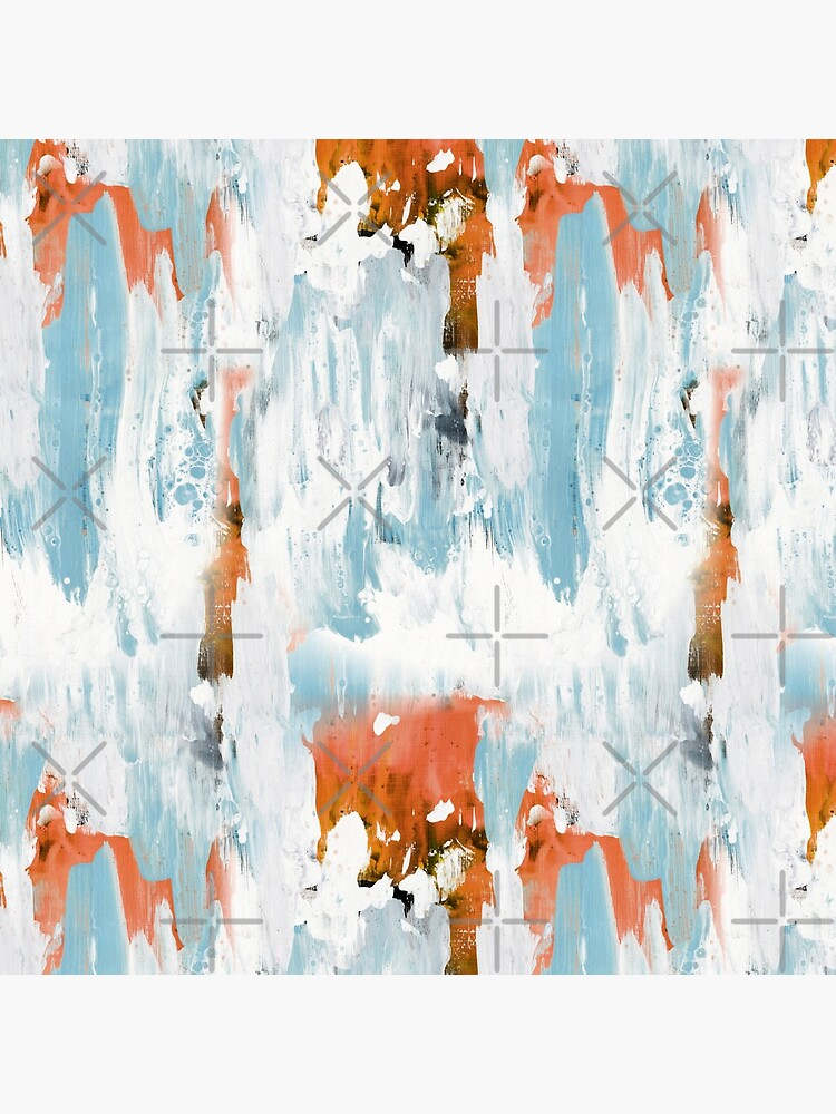 New dawn white & bright - fluid painting pouring image in white, orange and sky blue by nobelbunt